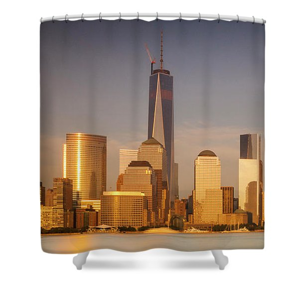 Shower Curtain featuring the photograph New World Trade Memorial Center And New York City Skyline Panorama by Ranjay Mitra