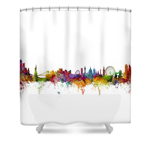 New York And London Skyline Mashup Shower Curtain