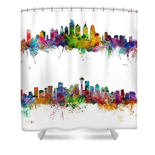 New York, Philadelphia, Seattle And San Francisco Skylines Shower Curtain