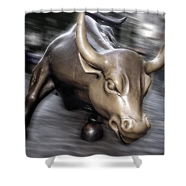 Shower Curtain featuring the photograph New York Bull Of Wall Street by Juergen Held