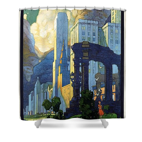 New York Central Lines, Chicago - Retro Travel Poster - Vintage Poster Shower Curtain