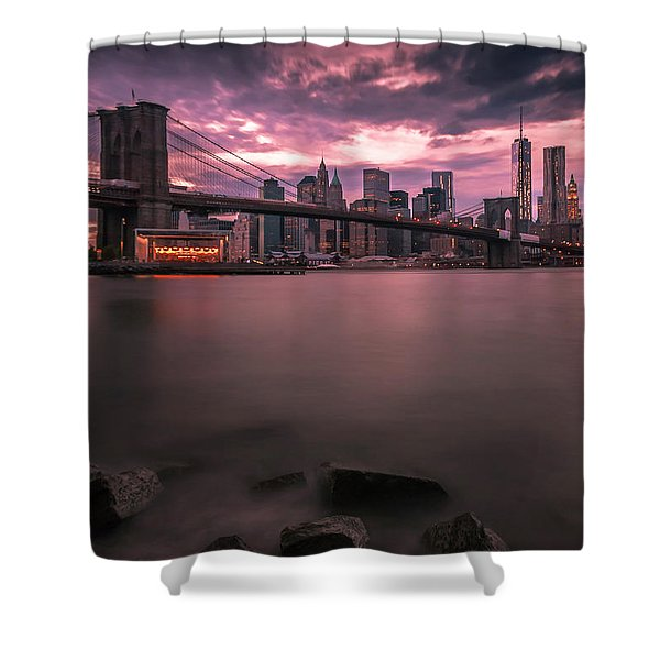 Shower Curtain featuring the photograph New York City Brooklyn Bridge Sunset by Ranjay Mitra