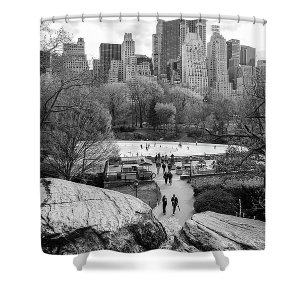 Shower Curtain featuring the photograph New York City Central Park Ice Skating by Ranjay Mitra