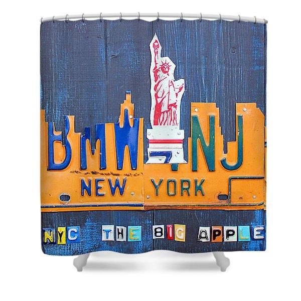 New York City Skyline License Plate Art Shower Curtain