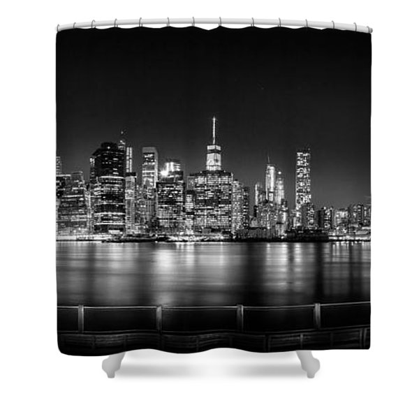New York City Skyline Panorama At Night Bw Shower Curtain