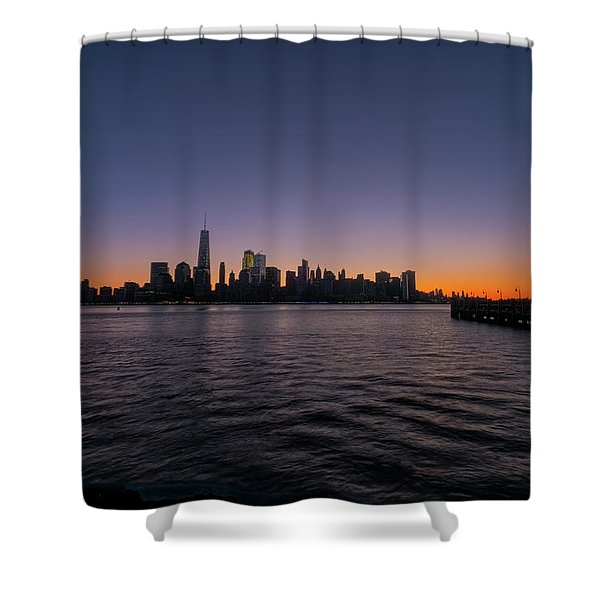 Shower Curtain featuring the photograph New York City Sunrise by Tom Singleton