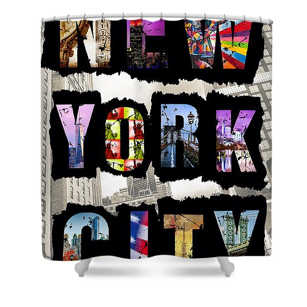 New York City Text Shower Curtain