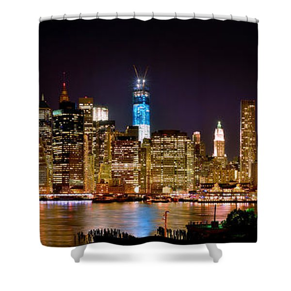 New York City Tribute In Lights And Lower Manhattan At Night Nyc Shower Curtain