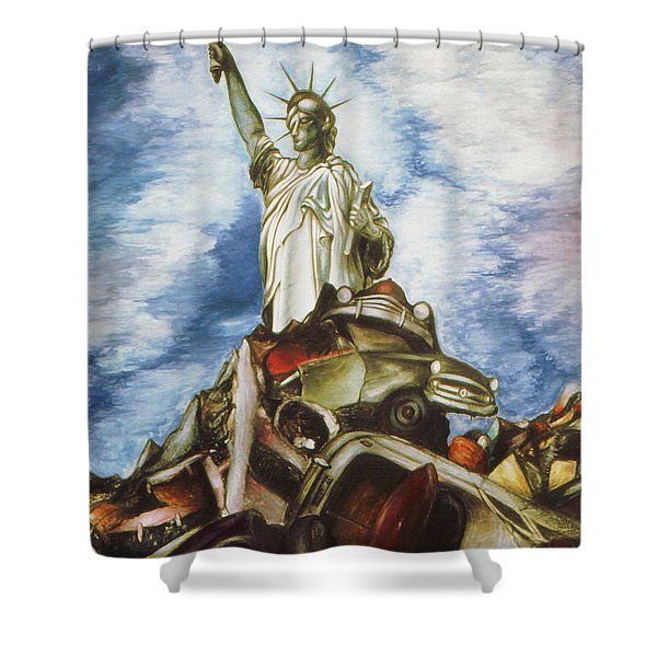 New York Liberty 77 - Fantasy Art Painting Shower Curtain