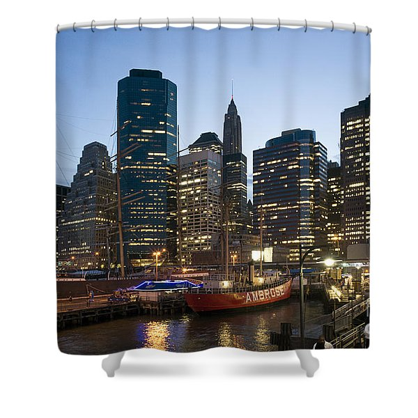 Shower Curtain featuring the photograph New York Manhattan Seaport by Juergen Held