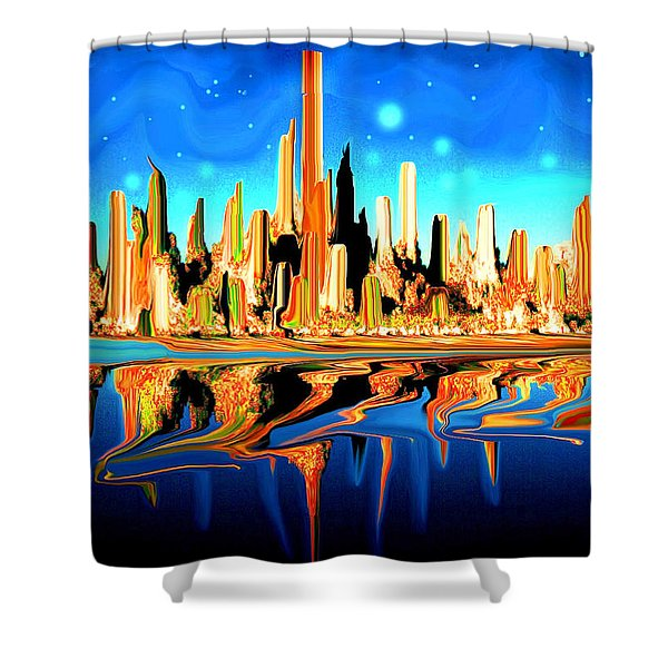 New York Skyline In Blue Orange - Modern Fantasy Art Shower Curtain