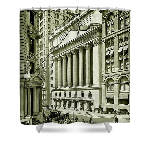 New York Stock Exchange Under Construction 1903 Shower Curtain