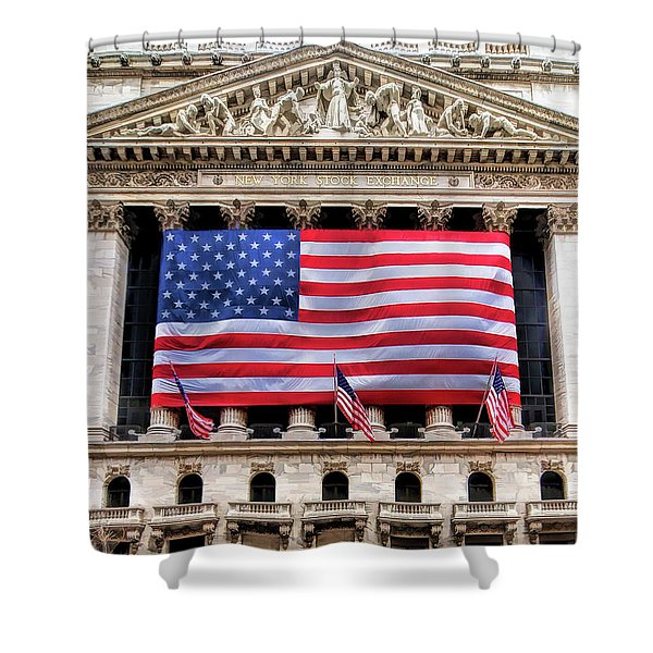 New York Stock Exchange Flag Shower Curtain