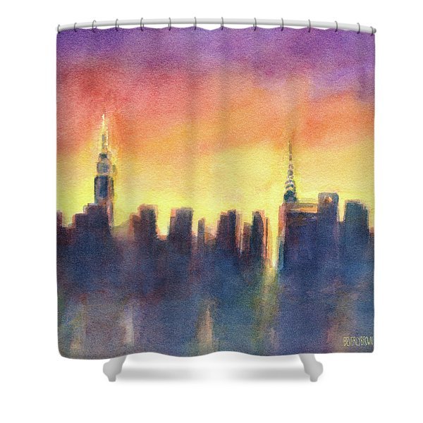 New York Sunset After The Rain Shower Curtain