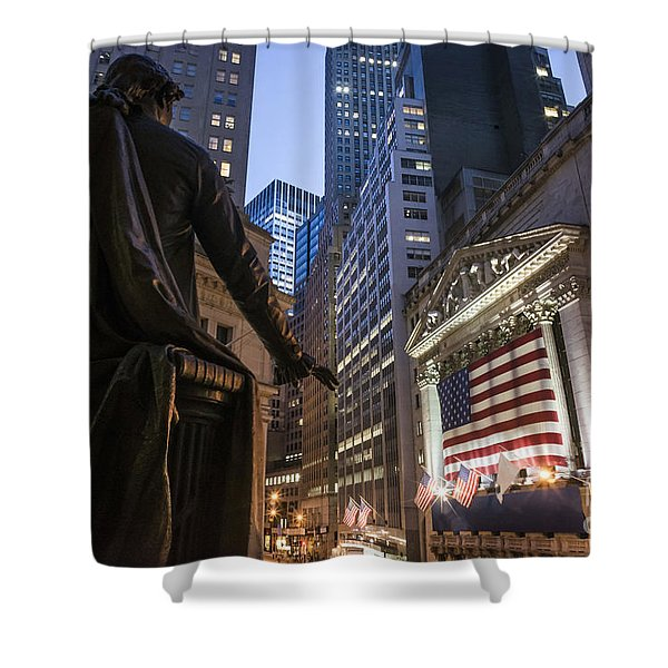 Shower Curtain featuring the photograph New York Wall Street by Juergen Held