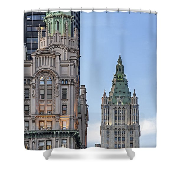 Shower Curtain featuring the photograph New York Woolworth Building  by Juergen Held