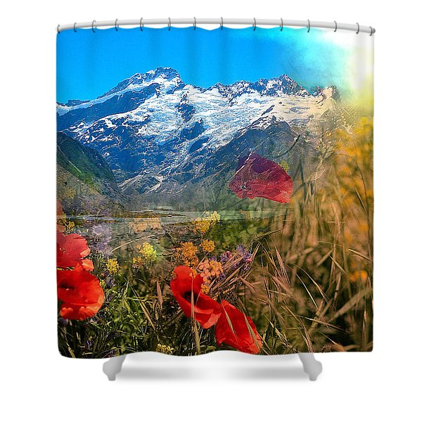 New Zealand Southern Alps Montage Shower Curtain