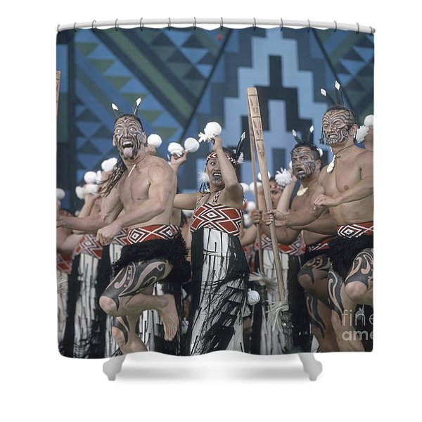 Shower Curtain featuring the photograph New Zealand,north Island,  Rotorua Arts Festival,dance And Singi by Juergen Held