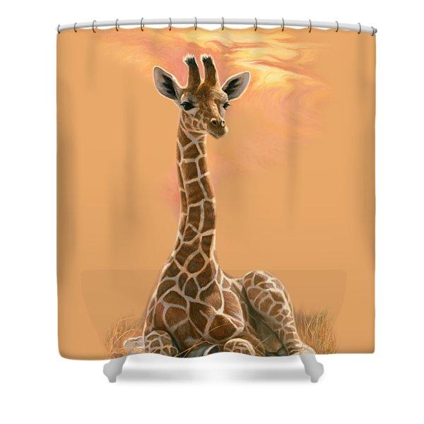 Newborn Giraffe Shower Curtain
