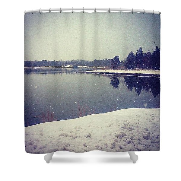 Cold Day By The Water Shower Curtain