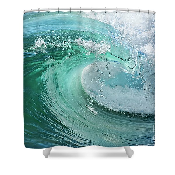 Newport Beach Wave Curl Shower Curtain