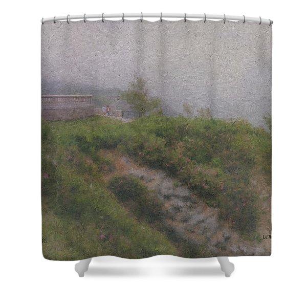 Newport Cliff Walk In The Fog Shower Curtain