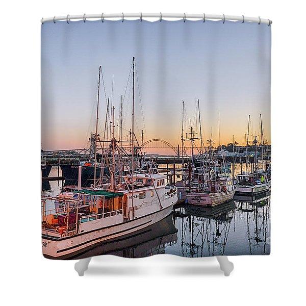 Newport Harbor At Dusk Shower Curtain