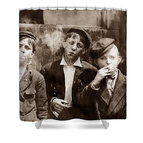Newsboys Smoking - 1910 Child Labor Photo Shower Curtain