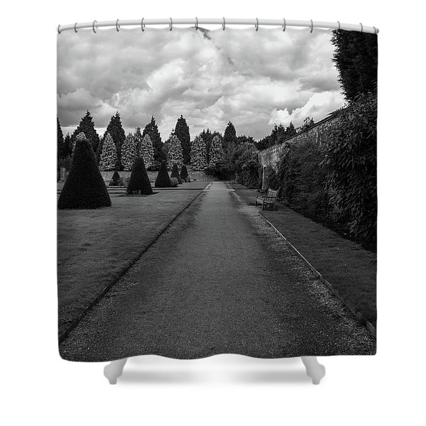 Shower Curtain featuring the photograph Newstead Abbey Country Garden Gravel Path by Scott Lyons