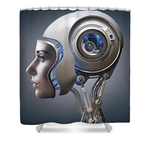 Next Generation Cyborg Shower Curtain