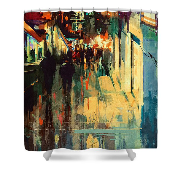 Shower Curtain featuring the painting Night Alleyway by Tithi Luadthong