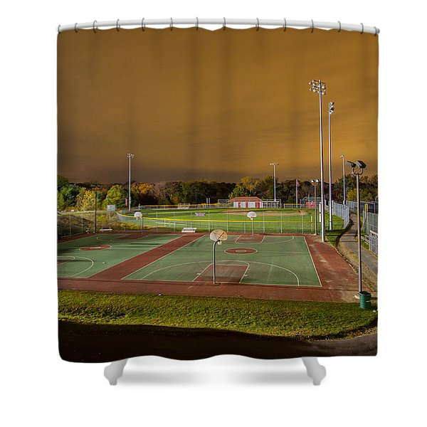 Night At The High School Basketball Court Shower Curtain