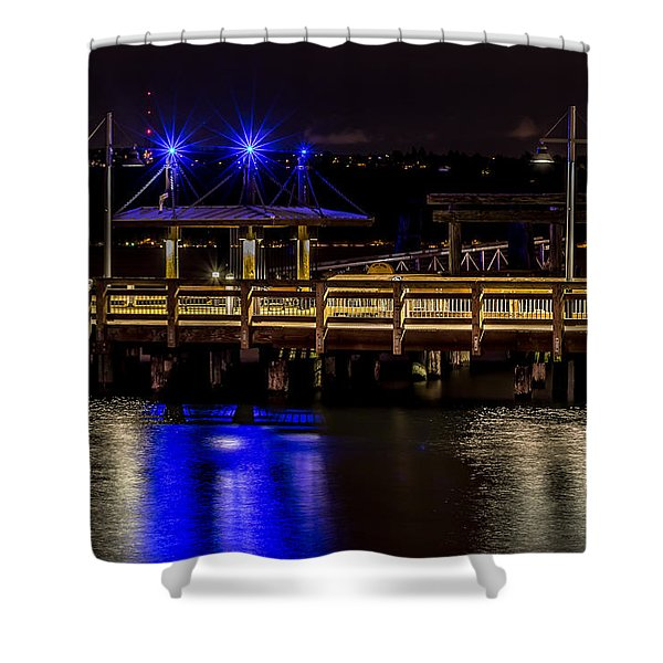 Night Falls On Old Town Pier Shower Curtain