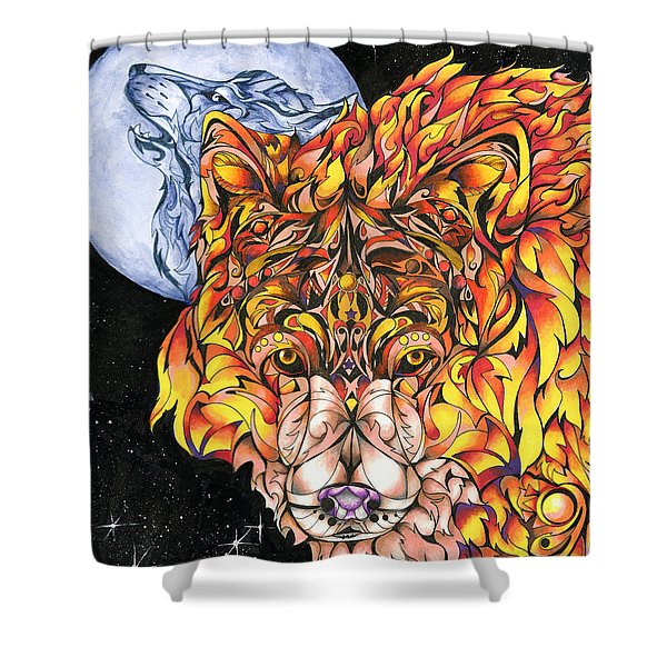 Night Fire Shower Curtain