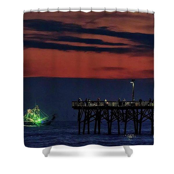 Night Fishing Shower Curtain