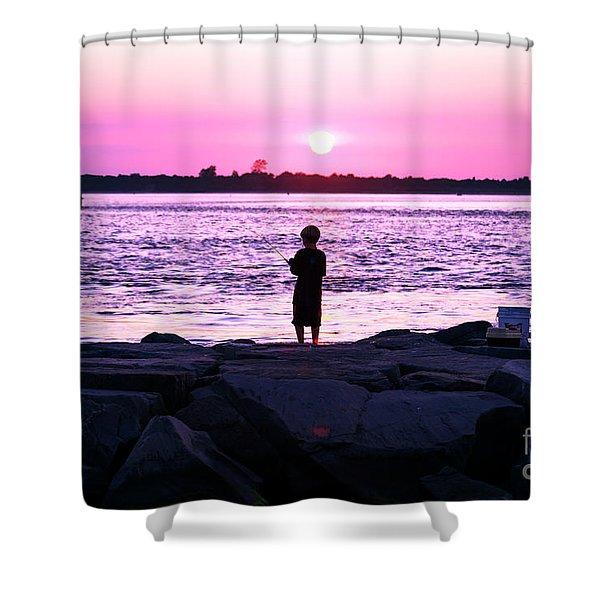 Night Fishing On Long Beach Island Shower Curtain