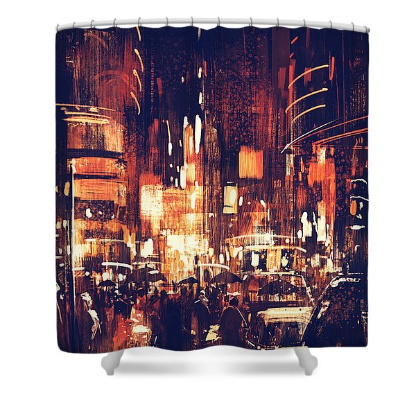 Shower Curtain featuring the painting Night Life by Tithi Luadthong