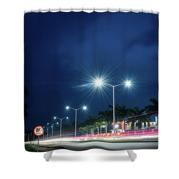 Night Lights In Montego Bay City Shower Curtain