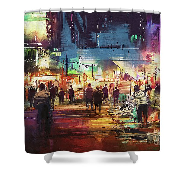 Shower Curtain featuring the painting Night Market by Tithi Luadthong