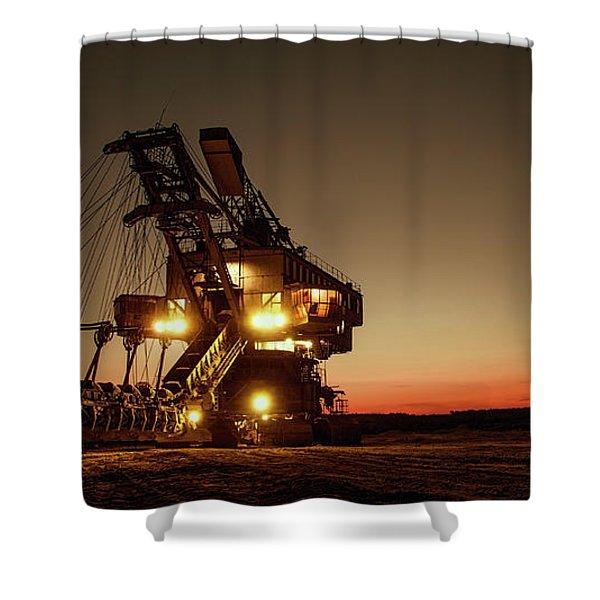 Night Mining Bucket Excavator Shower Curtain