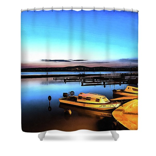 Night Port Painting Shower Curtain