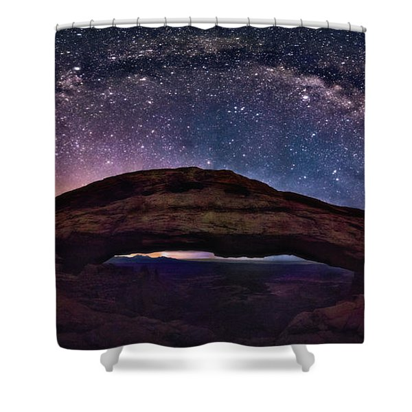 Night Sky Over Mesa Arch Utah Shower Curtain