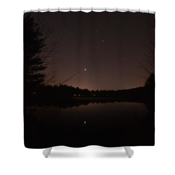 Night Sky Over The Pond Shower Curtain