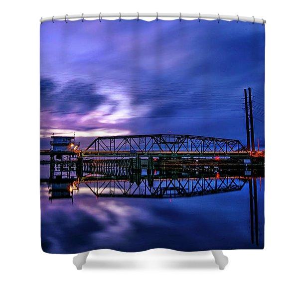Night Swing Bridge Shower Curtain