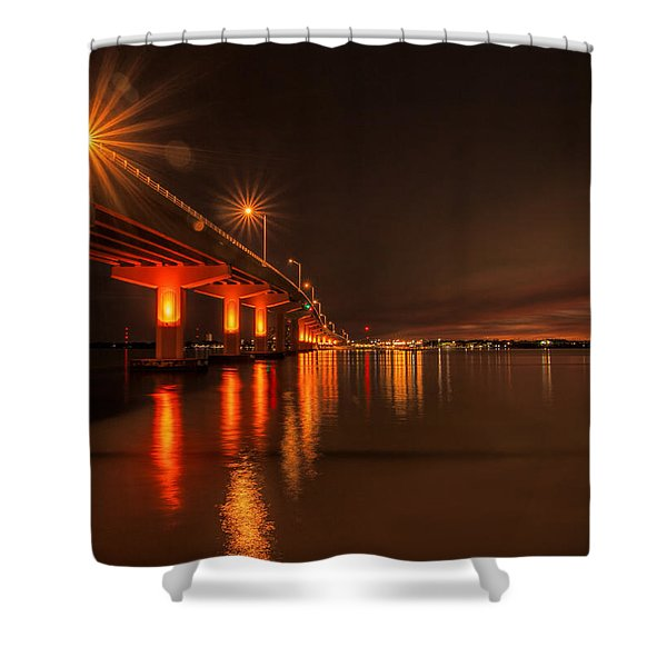 Night Time Reflections At The Bridge Shower Curtain