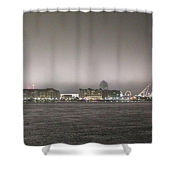 Night View Ocean City Downtown Skyline Shower Curtain