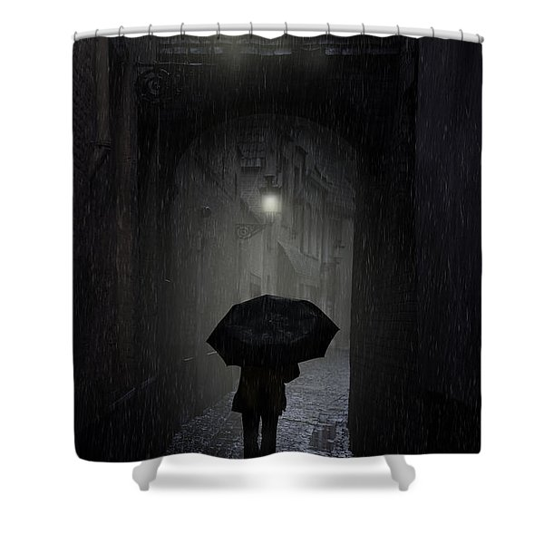 Shower Curtain featuring the photograph Night Walk In The Rain by Jaroslaw Blaminsky