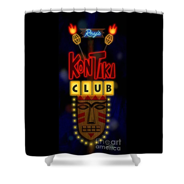 Nightclub Sign Rays Kon Tiki Club Shower Curtain