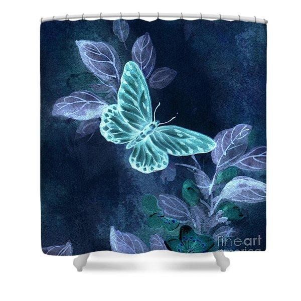 Nightglow Butterfly Shower Curtain