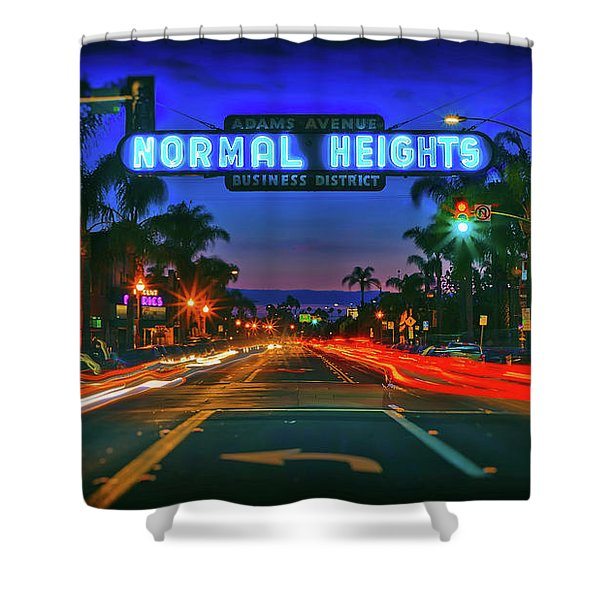 Nighttime Neon In Normal Heights, San Diego, California Shower Curtain